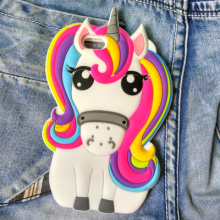 New 3D Cartoon Rainbow Unicorn Case Soft Silicon White Horse Cover for Apple iPhone SE 4S 5 5S 5C 6 6S 7 Plus J5 Grand Prim Case