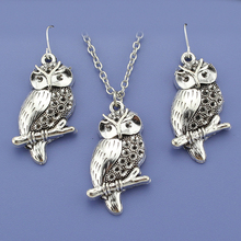 "Fashion Vintage Silver Tone Owl Pendant Women Jewelry Set Earring/Short Necklace 18""  Free Shipping Wholesale Lot DY71"