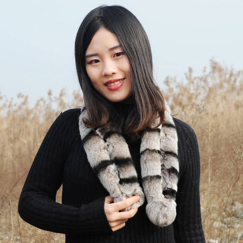 Free Shipping CX-S-122 Dyed Like Chinchilla Genuine Hand Made Real Rex Rabbit Fur Scarf
