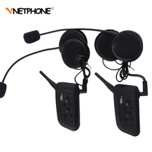 2PCS 1200M 4 Riders Same Time talking Bluetooth Motorcycle Intercom Headphone V4 BT Interphone Helmet Headset Communicator Moto