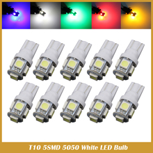 10pcs Super White T10 LED 5SMD 5050 W5W 194 interior license plate light dome light reading light car styling