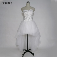 JIERUZIE robe de mariage White Tulle Beaded Hi low Wedding Dresses Ball Gown Front Short Long Back Beach Wedding Dresses(China)