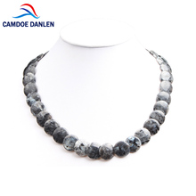 Six Design Trendy Round Cake Beads Necklaces Fashion Natural Stone Pendant Necklace Spectrolite 45CM Choker Necklace For Women(China)