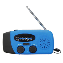 Waterproof Portable Hand crank Solar Radio AM / FM 3 LED Flashlight Phone Charger blue(China)
