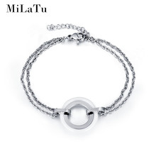 MiLaTu 2 Colors Women O Shaped Bracelet Bangle Stainless Steel Ceramic Bracelet Double Layer Chain Bracelet Women Gift B282