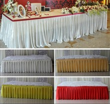 Fashion colorful ice silk table skirts table cloth runner decor  wedding table cover skirt/ hotel party table decoration