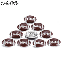10pcs/lot Mrs Win Snap Jewelry American Football Vintage Crystal 18MM Snap For Snap Bracelet Buttons Jewelry(China)