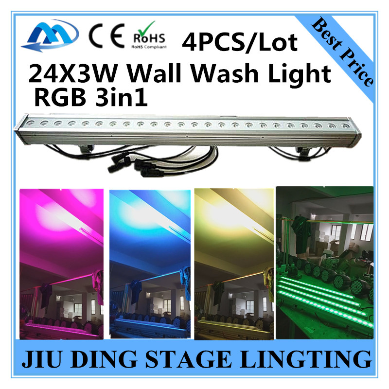 4pcs / 24X3W Wall Wash Light RGB 3in1 led par, wall washer dmx512 professional DJ equipment<br><br>Aliexpress