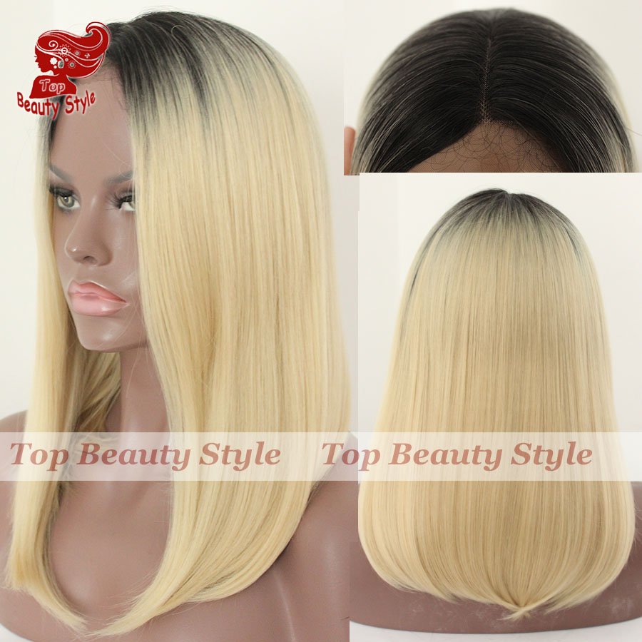 synthetic lace front wig ombre two tone black blonde hair bob short synthetic hair glueless lace front for women free shipping<br><br>Aliexpress