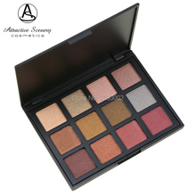 Fashion Metal 12 Color Eyeshadow Palette Earth Warm Shimmer Matte Beauty Makeup Set Smoky Eye-shadow 12S Silky Powder