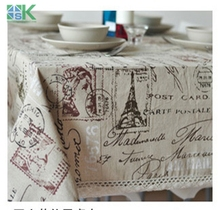2016 Summer new Eiffel Tower French linen tablecloths eco-friendly tea table cloth drape universal custom table cloth , freee sh