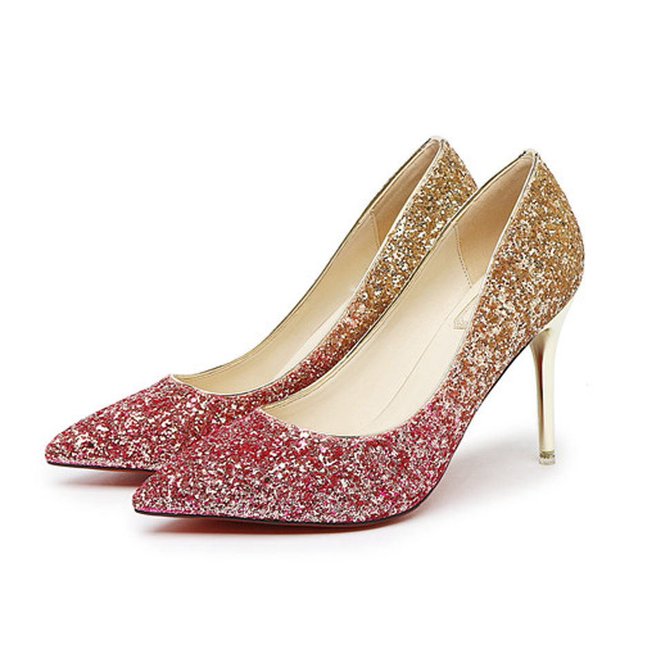 2018 New high heels shoes Sequined party wedding shoes womens pumps Pointed toe Woman Crystal Wedding Shoes 9cm heel big size<br>