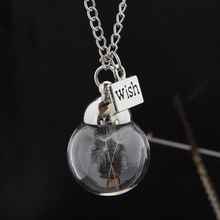 LNRRABC Fashion Vintage Women Collar Silver Color Necklace Real Dandelion Seeds in Glass Pendent Jewelry Joyeria