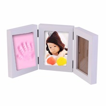 Pretty Cute Baby Photo frame DIY handprint or footprint Soft Clay Safe Inkpad non toxic easy to use Free ship best gift for baby(China)