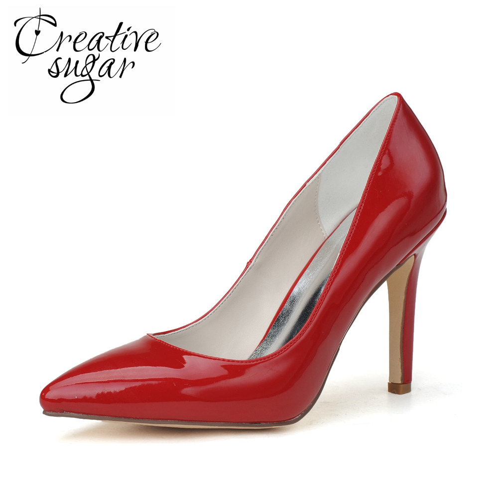 Creativesugar woman pointed toe patent leather pumps high heel for party cocotail office lady shoes red white beige apricot <br>