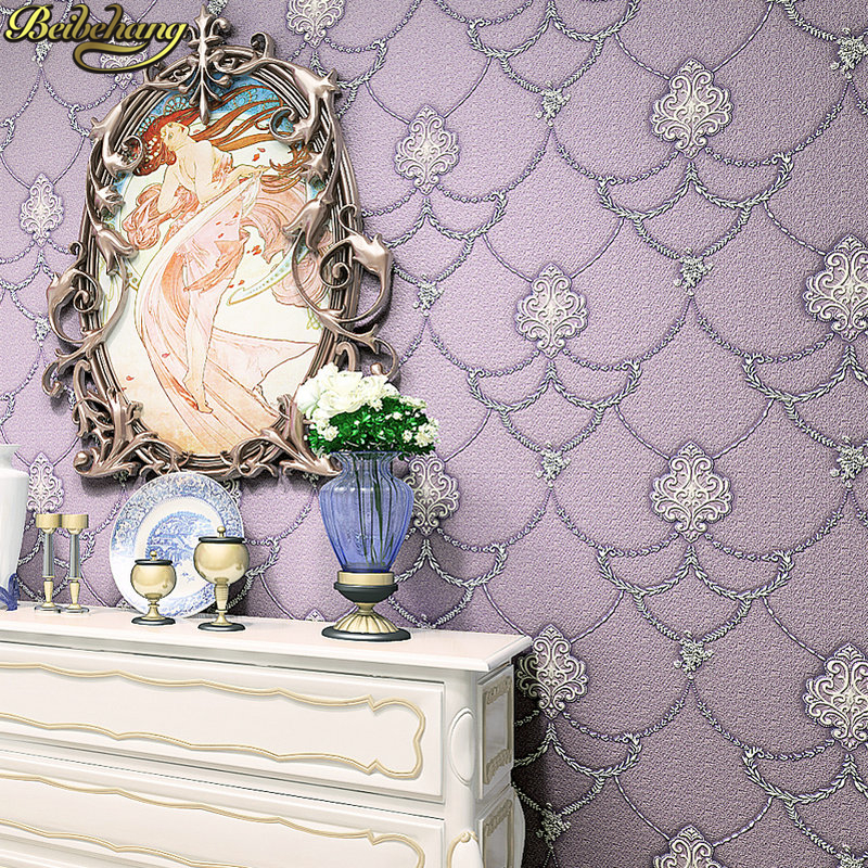 beibehang Non Woven Embosed Flocking Wall Paper Europea 3d Floral Pattern Damask Wall covering Minimalist Modern Style Wallpaper<br>