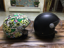 Retro Cruiser Motorcycle Helmet Chopper 3/4 Open Face Vintage Helmet 381Z Moto Casque Casco motocicleta Capacete Pilot helmets(China)