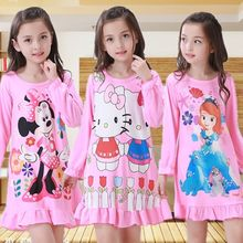 3-12Y Girls Nightgown children clothing cotton long sleeved pajamas dress Cute kids Homewear Nightdress Clothes Princess Dress