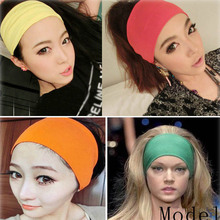Sweet Candy Colors Solid Cotton Headbands Boutique Handmade Wide Turban Headwrap For Women Girl(China)