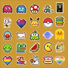 25pcs/lot Pixel style game characte Notebook refrigerator skateboard trolley case decals backpack Tables waterproof car sticker(China)