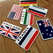 3D Aluminum car Flag sticker accessories For Russia Germany France Italy Australia US car styling