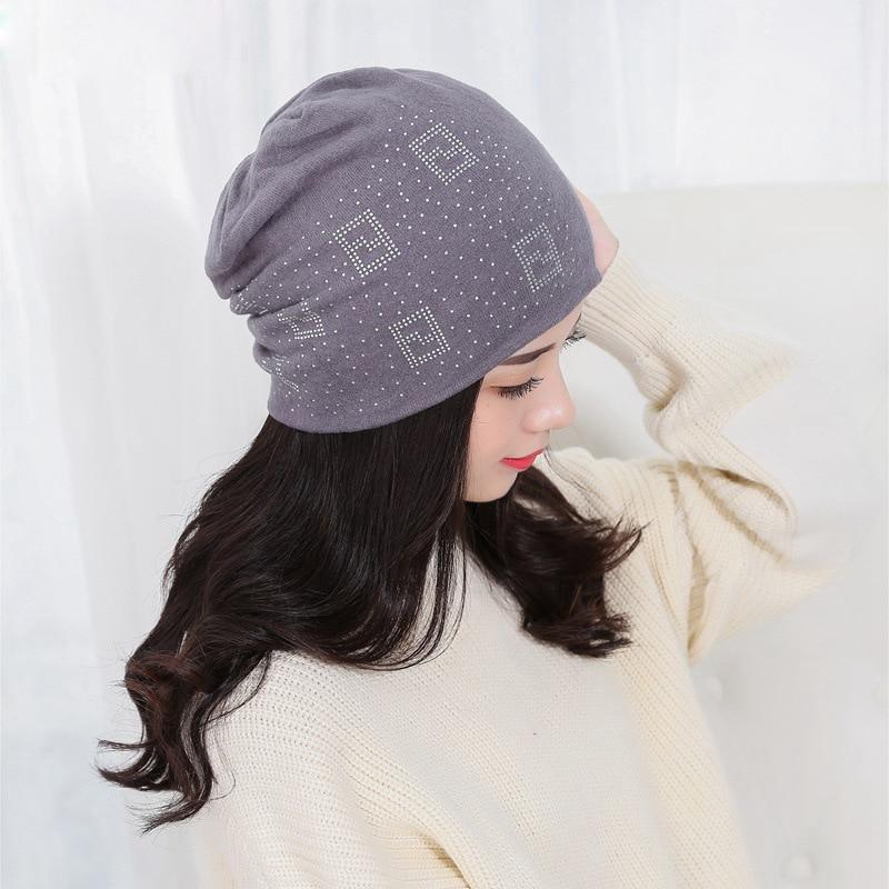 2017 Cotton Beanie Bonnet For Women Autumn And Winter Caps knitted Hip-hop Cap Geometric Rhinestone Hats Female Warm SkulliesÎäåæäà è àêñåññóàðû<br><br><br>Aliexpress