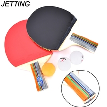 JETTING 1Pair Racket Ping Pong Paddle with 3 Balls - Short Handle Double Face Rubber Table Tennis