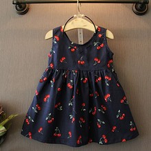 2017 Summer Baby Girl Dress Costume Casual Clothes Fashion Floral Print Kids Girls Dress Cherry Size 2-11 years