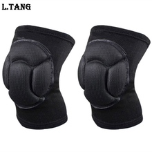 Sponge Knee Support Black Soccer Knee Pads Protector Sports Kneepads Fitness Goalkeeper Football Volleyball Knee Support L134(China)