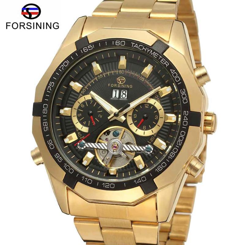 FORSINING Brand Luxury Golden Stainless Steel Uhren Tourbillon Automatic Mechanical Watches Men Business Chronograph Wristwatch<br>