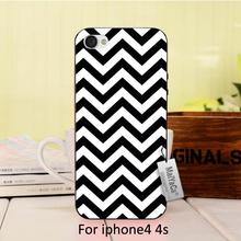 Simple black and white striped visual effects lovely Plastic Hard phone Accessories Case For case iPhone 4 4s