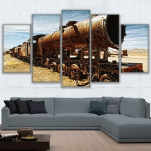 Wall Art Canvas Painting Frame HD Prints Modular Living Room Retro Car Poster 5 Pieces Antique Train Pictures Home Decor(China)