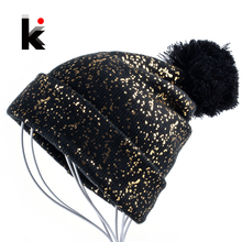2017 Autumn And Winter Beanies Women Fashion Sequins Knitted Wool Hat Femal Flashing Skullies Girls Beanie Gorros Ladies Bonnet(China)