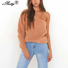 Autumn Winter Knitted Sweater Women 2017 Chain Link Fence Hollow Out Pullover Sweater Sexy Off Shoulder Long Sleeve Jumpers