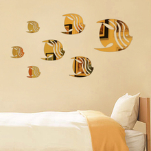 Three-line fish Bedroom nightstand home decoration Acrylic patch Creative mirror wall stickers poster stickers home accessorie(China)