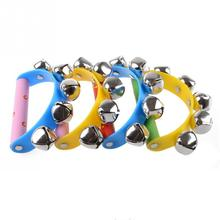 2016 Little Hand Held Tambourine Bell Metal Jingles Ball Percussion Musical Toy Kid Children Gift Wholesale Retail