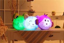 Luminous Stuffed  LED Light Up Plush Glow CAT/FROG/Monkey Pillow Toy Auto 7 Color Rotation Illuminated Stuffed Cushion Gift
