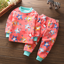 Boys Girls Clothing Sets Winter Cartoon Hello Kitty Baby Warm thickening T-shirt Tops+Pants Suit 2pcs Kids Children Clothes Set