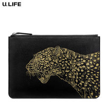 High Quality Personality Fashion Men Clutch Genuine Leather Male Handbag Leopard Pattern Thin Black Zipper Long Wallet J40(China)