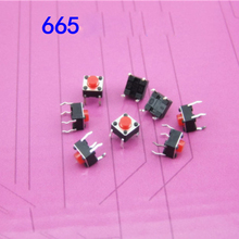 200pcs Circuit Switch Micro Switch 6x6x5 Touch Switch Button On/off Copper Feet Reed Red Head(China)