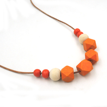 orange necklace Natural geometric wooden beads statement necklace minimalist  NW034
