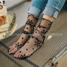 2017 hot selling fashion Net socks black lace Breathable 5 styles fishnet socks sexy mesh Spring summer new product women socks(China)