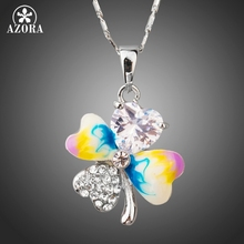 AZORA White Gold Color Heart of Love Clover Oil Painting Cubic Zirconia Pendant Necklace TN0193