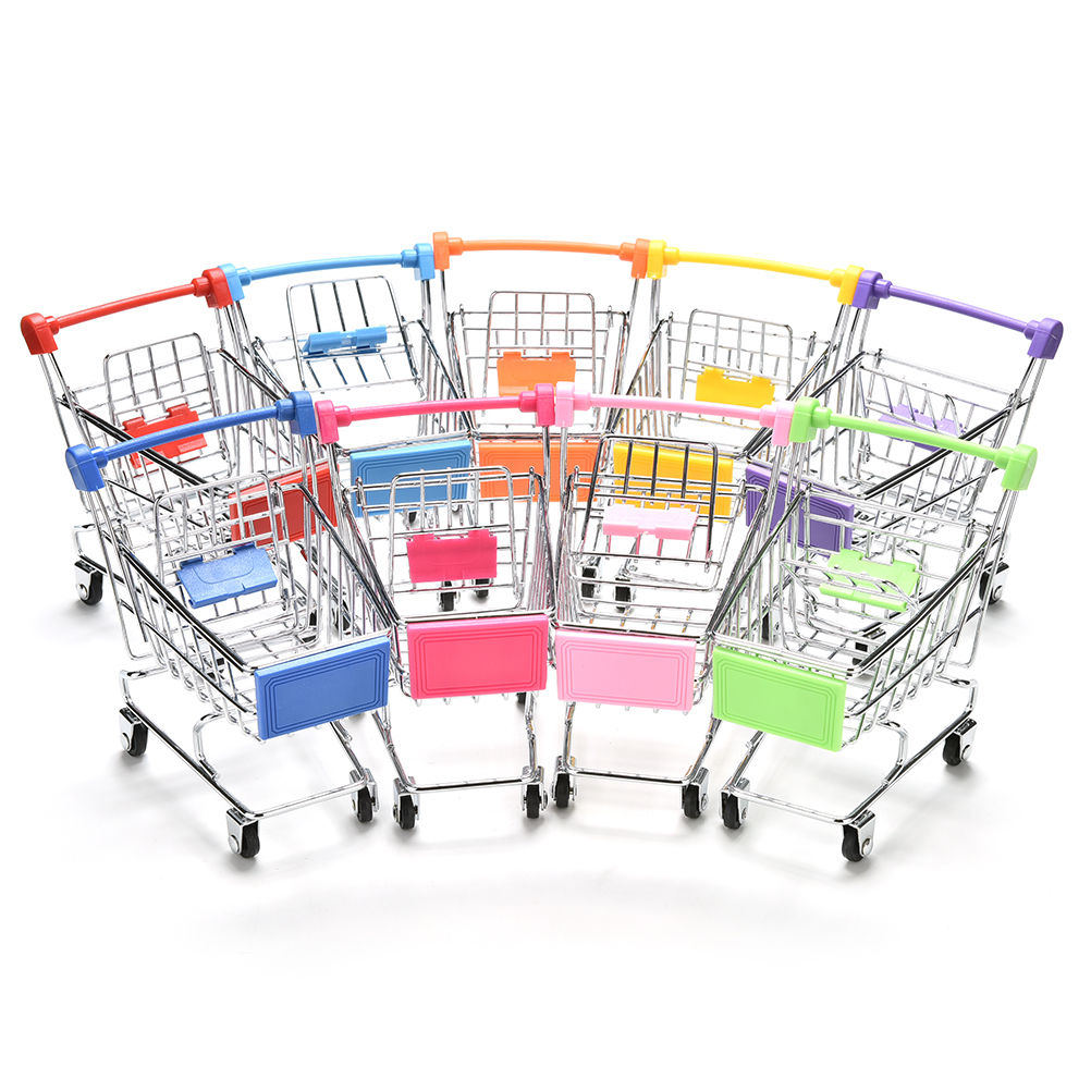 Colorful Funny Mini Supermarket Shopping Cart Trolley Pet Bird Parrot Hamster Toy Wholesale