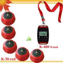 Special price Wireless call pager system 1 mobile host with neck rope and 5 1key red calls(China)