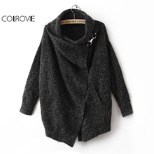 COLROVIE Black Lapel Ouch Cardigan Women Long Sleeve Sweater Fall 2017 Fashion Draped Collar Loose Buckle Casual Winter Cardigan(China)