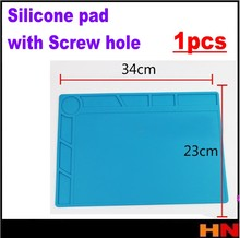 1pcs High temperature resistant mobile phone maintenance rubber pad Silicone pad High temperature mat Screw hole 34*23cm(China)