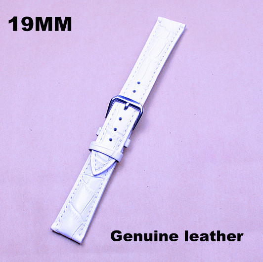 1PCS High quality 19MM  genuine leather Watch band  watch strap watch belt  white color -130601103<br><br>Aliexpress