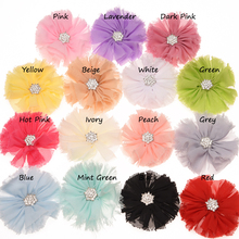 5PCS Raw Edge Chiffon Flowers With Hexagon Rhinestone Center 7cm Frayed Chiffon Flower Hair Accessories No Clip(China)