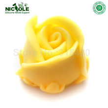 Nicole R0141 Easy Unmold Flexible 3D Rose Flower Silicone Decorative Soap Candle Molds Resin,Clay Crafts Mould(China)